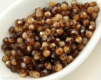 4mm beads Czech faceted glass Brown Caramel 50pc last