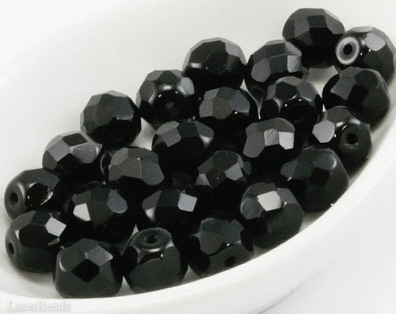 8mm Fire Polish Black Beads (20) Czech Round Faceted Glass
