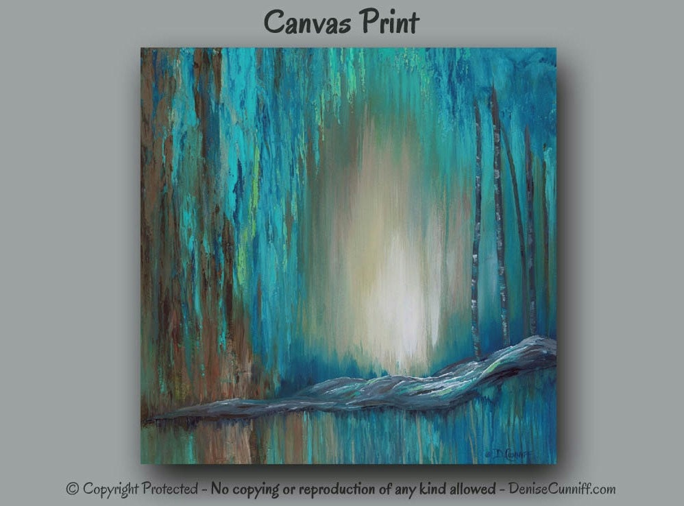 Extra Large Wall Art Abstract Painting Canvas Art Print Teal