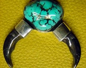 Genuine  Kingman Turquoise   with   2 Silver capped  X Lg. Canadian Timber Wolf Claws