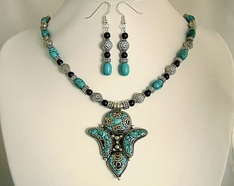 Magnificent Tibetan Necklace Turquoise Garnet Silver Nepalese Pendant Exotic Earrings Unique Gift for Her Birthday Anniversary Gift for Wife
