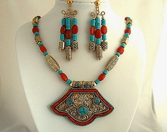 Magnificent Turquoise Necklace Original One Of A Kind Exotic Tibetan Jewelry Unique Necklace Gift for Her Unusual Fabulous Dynamic Splurge