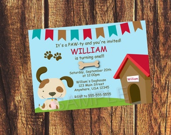 Puppy Party Invitation (Listing is for a digital file)