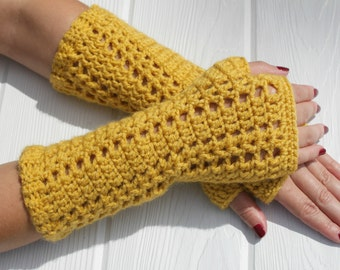 Fingerless Gloves, MUSTARD Fingerless Mittens, Work Gloves