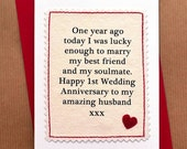 Handmade First Anniversary Card for Husband or Wife