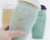Gift Certificate, Mom Ceramic Travel Mug with Lid, Clay To Go Mug with Silicone Lid, , Mom Christmas Gift