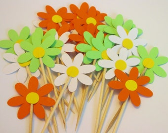 12 Daisy toppers, flower toppers, daisy flower cupcake toppers, llime green orange and white daisies