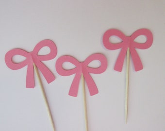 12 Pink bow cupcake toppers-bow appetizer picks