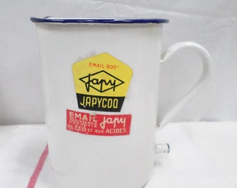 Japy French Vintage White Enamelware Enema Bucket like new with the original tag 40s (w794)