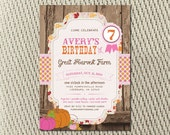 Vintage-Rustic - Leaves and Autumn Hayride - Farm - Fall - Pumpkin Birthday Party Invitation: Digital