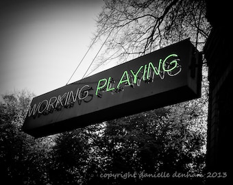 Portland Street Sign Working Playing Green Black and White--Fine Art Photography 8x10