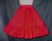 Vtg Full Sweep Partners Please Red Square Dance HALLOWEEN Party circle Skirt  M/L
