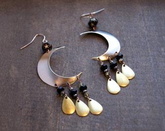 Silver Crescent Moon Earrings Celestial Moon Earrings Bohemian Moon Star Earrings Moon Phase Celestial Jewelry Star Jewelry Gypsy Earrings