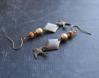 Tribal Bird Earrings Aztec Bird Earrings Geometric Bird Earrings Swallow Earrings Earthy Bird Earrings Bohemian Earrings Sparrow Earrings
