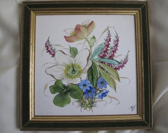 porcelain plate hand-painted very good condition 15x15 cm artist's signature