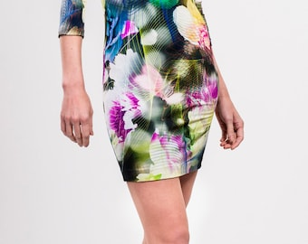 Viscose jersey floral printed dress