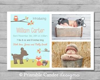 Woodland Baby Boy Birth Announcement - Forest Friends 2 - DIY Custom Printable
