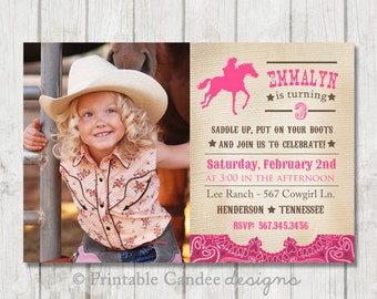 Vintage Cowgirl Birthday Invitation - DIY Custom Printable