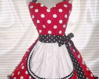 French Maid Apron, Red with Big White Polka Dots, Pin-up Retro Style Costume Apron Flirty Skirt Sweetheart Neckline