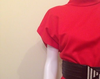 Vintage 1980's Red New Wave Casual Dress