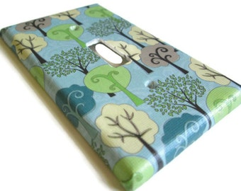 Switch Plate - Outlet Cover - Trees on a Blue Background, Eco Friendly