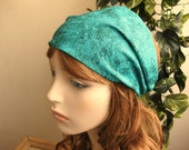 Teal Green Ocean Fabric Headband Womens Headband Yoga Headband Teal Head Wrap Bandana Headband Hair Accessories Womens Gift for Her