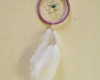 Dream Catcher for Car Mirror- Pink Lilac, Turquoise Stone, White Feathers