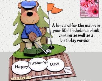 Golfing Bear Card - Easel Card - Digital