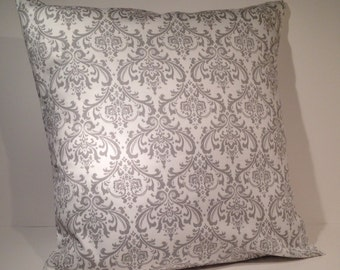 "Decorative Throw Pillow Cover 16"" x 16"" Gray and White Damask Print"