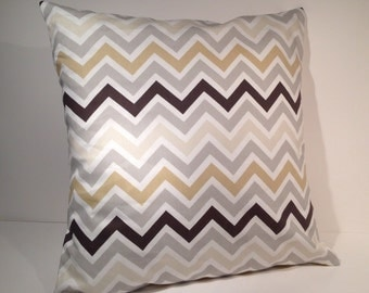 """Decorative Throw Pillow Cover 16"""" x 16"""" Brown, Gray, and Natural Chevron Zig Zag Stripe Print"""