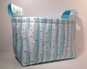 Fabric Basket Organizer Bin Storage - Birch Tree Print with Solid Light Blue Interior