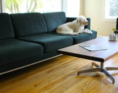 CLEARANCE - Walnut coffee table with Vintage Eames style base