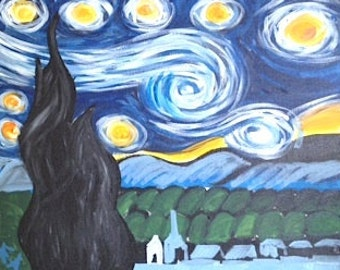 Van Gogh, STARRY NIGHT INSPIRED Original Painting