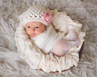 Newborn girl hat, baby girl hat, newborn girl photo prop, coming home outfit, baby girl clothes, cream, flower, infant girl hat, crochet hat
