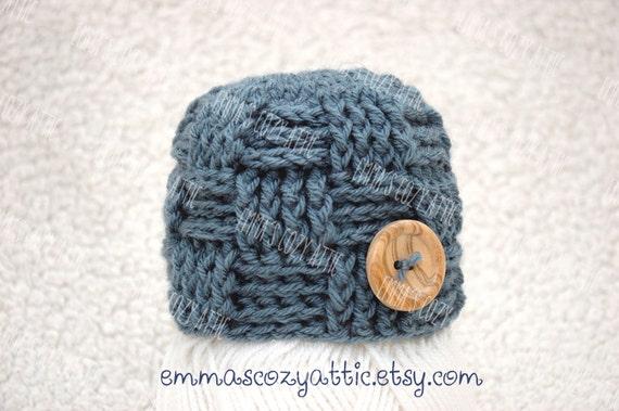 Newborn boy hat baby boy hat checker woven basketweave beanie photography prop infant boy hat dusty blue crochet boy hat