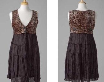 Womens clothing repurposed leopard vest black skirt S-M mid-length