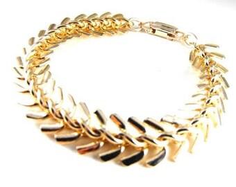 Vintage Bracelet Golden Rhodium Look Multi Link Made Germany Signed Vintage Jewelry