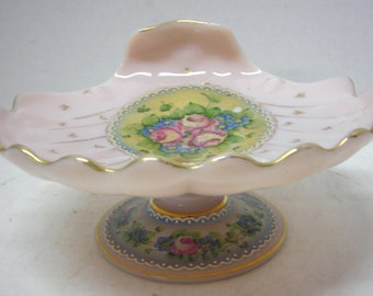 Light Pink Clam Shell Footed Candy Dish with Hand Painted Flower Accents