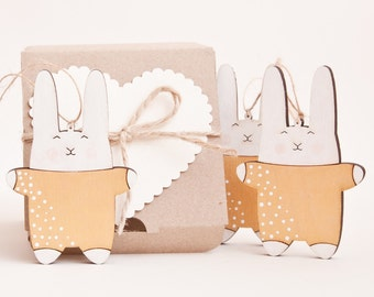 Xmas Ornaments Gold Christmas decor Bunny Ornaments Holiday Decoration Cute Rabbit New Year Gift Ornament Set