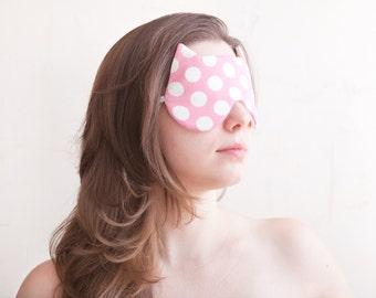 Polka dot Pink Bridal Shower Gift Cat Sleep Mask, Bachelorette Party, Cat Mask, Valentine's Day Gift, Dotted Kids Eye mask Honeymoon Gift