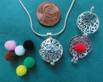 Small Round Silver Aromatherapy locket necklace + FREE essential oil