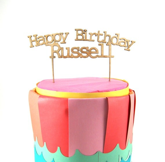 Customize out Happy Birthday Cake topper with your own name