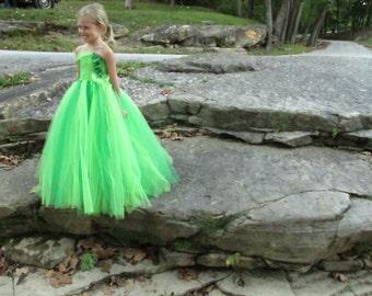 Girls green tulle flower girl dress, girls flower girl dress, girls dress, green fairy costume