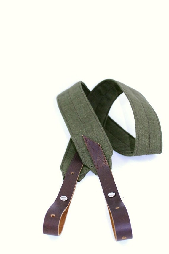 Banjo Strap in Olive Green Linen with Adjustable Leather Ends