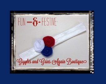 Red White and Blue - Rosette Headbands - Perfect for our American Celebration, Patriotic Headband, Girls Headband, Rosette Headband