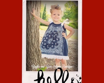 Bandana Cowgirls Ruffled Pillowcase Dress with Eyelet Lace - All Sizes - 3 months to 4T.