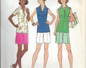 Simplicity 6937 Misses Jiffy Front Zip Top and Shorts Pattern, Size 18 & 20 UNCUT