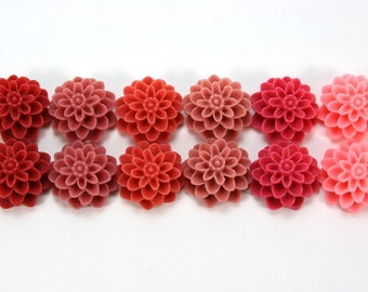 12 pcs Resin Flower Cabochons - 15mm Dahlia - Reds Assorted Mix