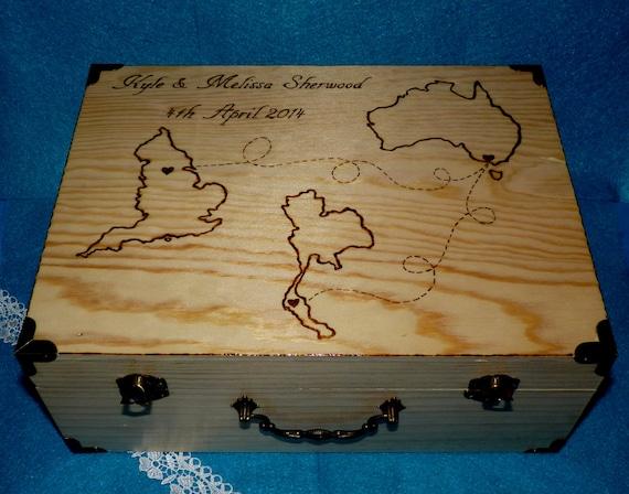 Custom Wedding Map Destination Wedding Box Wood Burned Wedding Keepsake Box Rustic Wedding Trunk Travel States Personalized Card Box