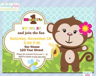 Monkey 1st Birthday Invitations - Printed Invitations - Custom Invitations